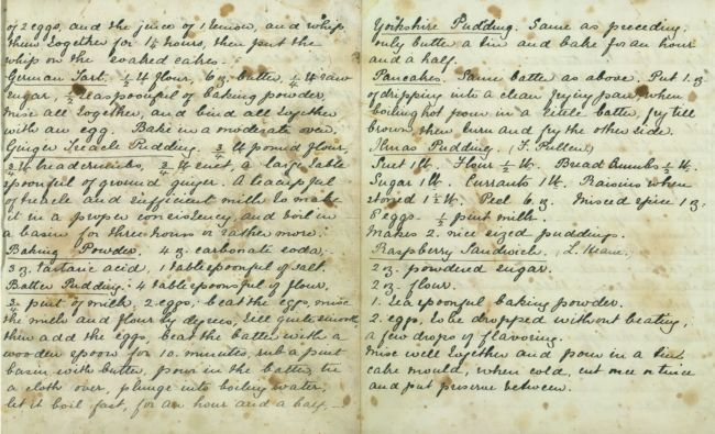 Late 19th century recipe for Yorkshire Puddings taken from a recipe book held by the North Yorkshire County Record Office. Exact date unknown. This was written later than the Georgian era, but cooking techniques had not yet changed much.