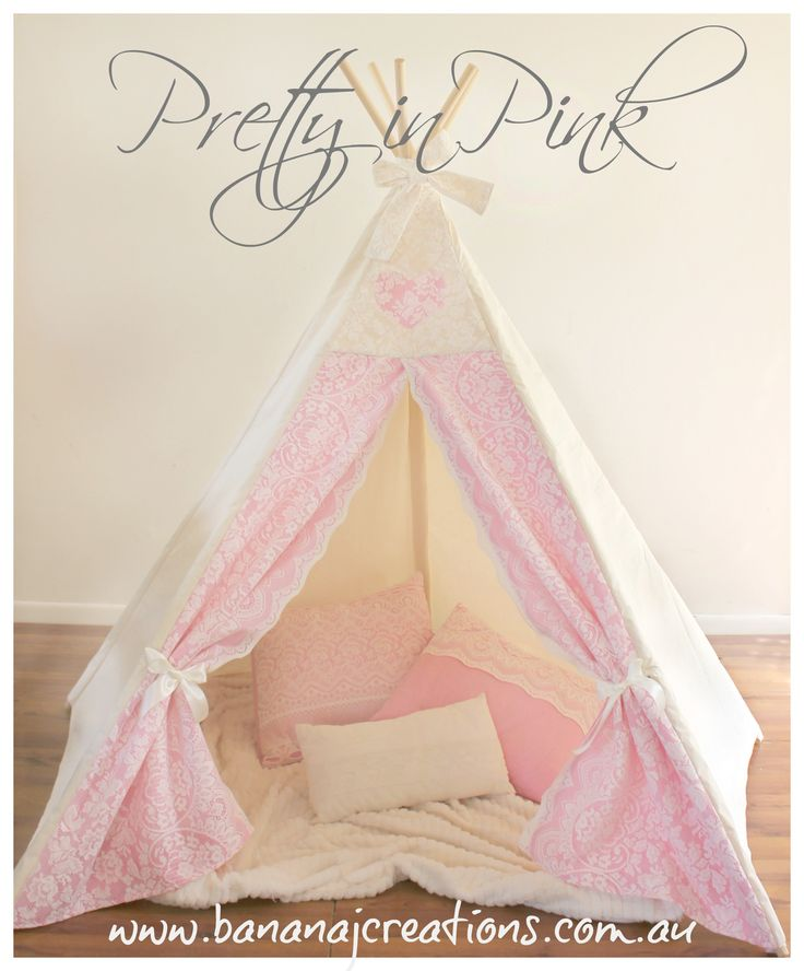 "This play tent tee pee is for all those ""girlie girls"", the ones who LOVE pink and LOVE hearts, the girls who will sit quietly and read, colour or play with dolls. The girls that are made with sugar and spice and everything nice!! Made with an unbleached naturally seeded heavy cotton, soft pink front […]"