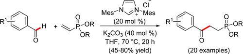 Facile Synthesis of γ-Ketophosphonates by an Intermolecular Stetter Reaction onto Vinylphosphonates