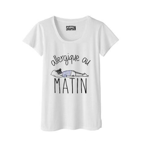 """T-shirt   """"Allergique au matin"""""""