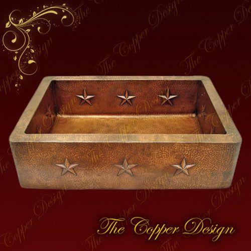 Farmhouse Kitchen Sinks | ... Shop > Products > Copper Apron Farmhouse Kitchen Sink Star Desgin