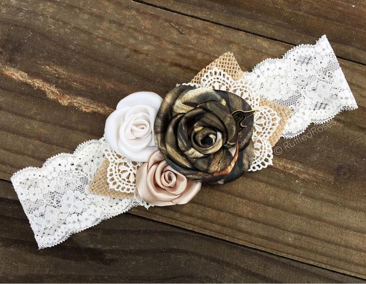 Camo Cream And Champagne Roses With Burlap