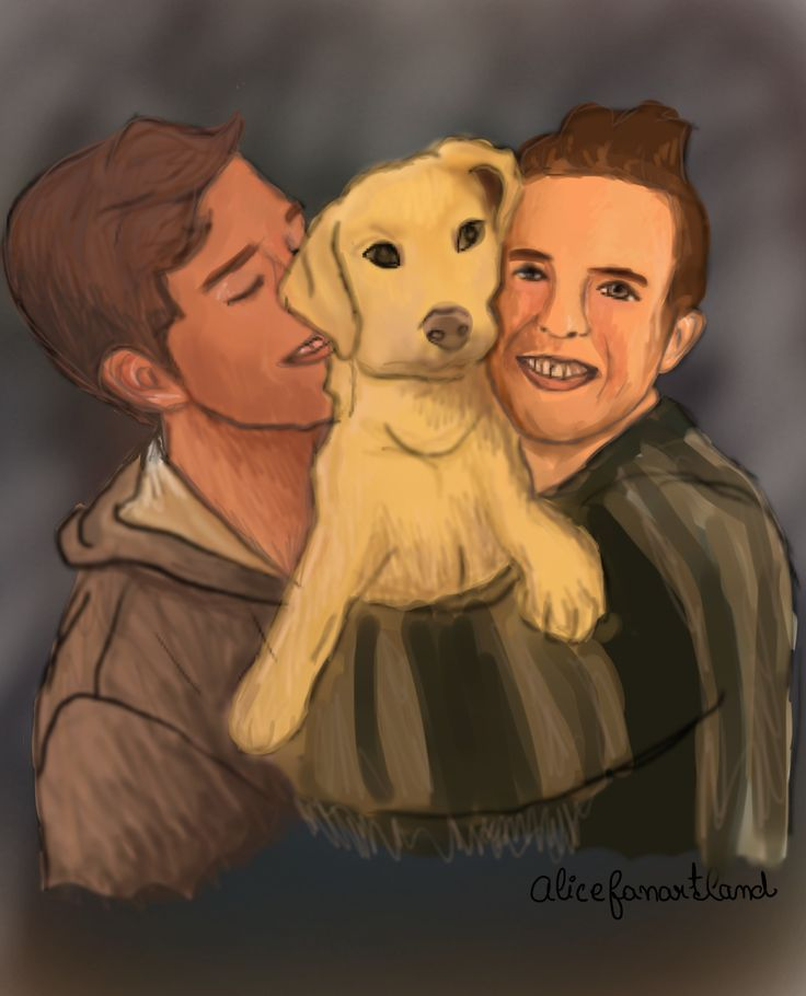 Cute family portrait fanart of Shane, Ryland and Uno :)