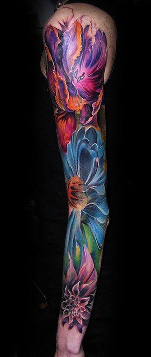 #inked #ink #tattoo #tattoos #tats #inkedmag #inkedmagazine #sleeve #flowers #color