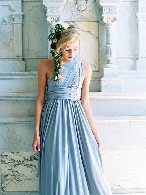 a61f1a7a8 Convertable Versa Dress in Mercury by Davids Bridal styled by 100 Layer  Cake / Photo Braedon Flynn   Bridesmaids   Bridesmaid dresses, Modern  bridesmaid ...