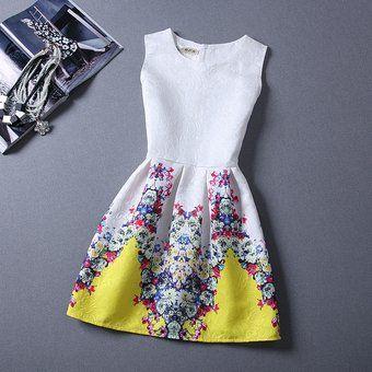 Vestido Floral Sleeveless A-Line Ball Gown Dress-Amarillo(CX)