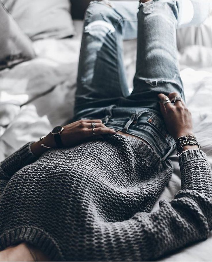 knit via @street_style_paris by @mikutas  #knit #rippedjeans #jeans by inter.fashion.love
