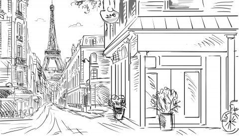 улица Парижа, нарисованная карандашом