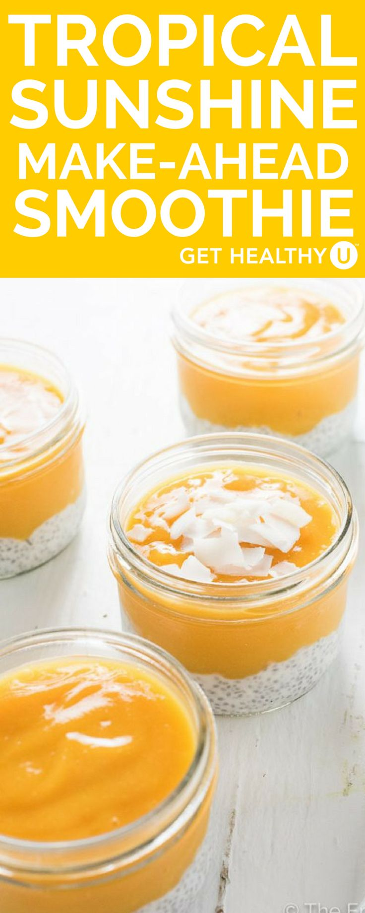 These make-ahead tropical sunshine smoothies are filled with mango, coconut, and taste amazing! We love this delicious recipe because you can make these sweet tropical drinks ahead of time and they last up to 4 days in the fridge. The bottom layer of chia seeds and coconut milk in the smoothie creates a tapioca like pudding that is super yummy and makes the perfect grab and go breakfast,  or post-workout snack.