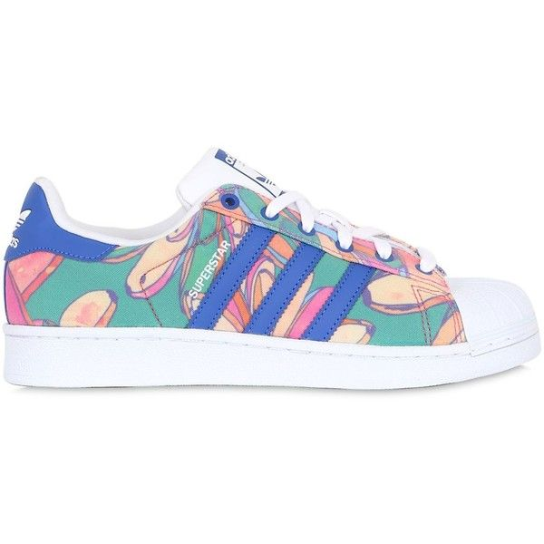 Adidas Originals By Farm Women Superstar Foundation Bananas Sneakers found on Polyvore featuring shoes, sneakers, adidas, multi, adidas originals, adidas originals sneakers, rubber sole shoes, adidas originals trainers and adidas originals shoes