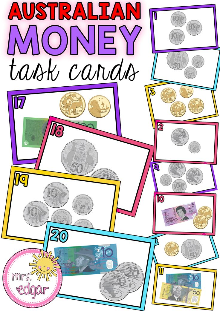 Australian Money Task Cards are best suited for Year 2, however, can also be used for Year 3 students. 24 bright and colourful cards that show different monetary values. Students need to add the total amount of coins and/or notes to work out the answer. An answer key is provided to make marking simple! 6 pages for $2.50! http://designedbyteachers.com.au/marketplace/australian-money-task-cards-2/