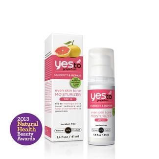 Yes to Grapefruit Even Skin Tone Moisturizer w/ SPF 15, 1.4 oz. Helps diminish the appearance of dark spots in four weeks. Formulated with Moringa Oil, a skin conditioning moisturizer chock-full of radiance-boosting fatty acids, Grapefruit, which helps to fade age spots and increase skin luminosity, and Passion Flower Extract to naturally soothe skin. 97% Natural; Petroleum, SLS, & Paraben Free. New; retails for $15.99.