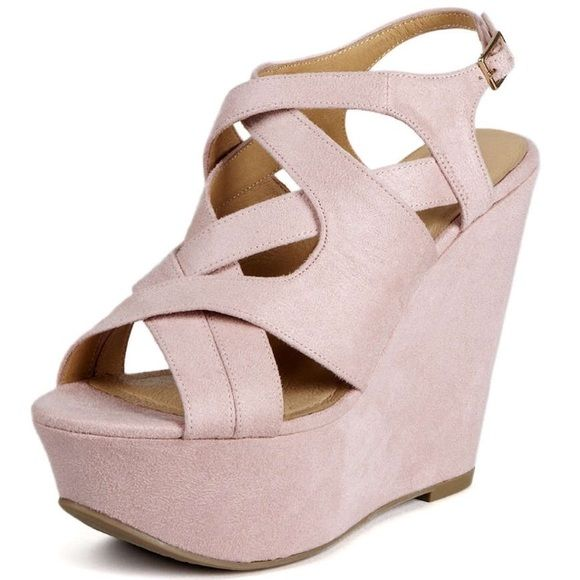 NEW Kelsi Dagger Suede Wedges Light pink suede accented with gold buckles. Super cute for spring and summer. Never worn. Kelsi Dagger Shoes Wedges