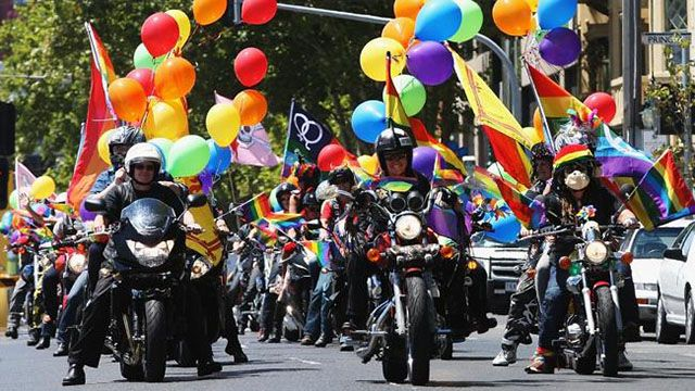 Dykes on Bikes lead the charge. Pride March, Melbourne. 2014.