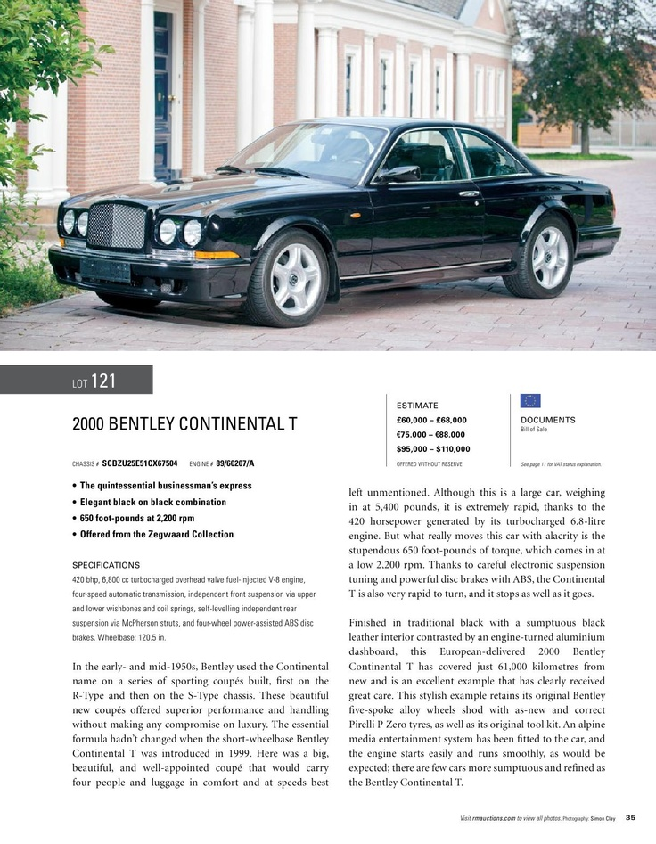 RM Auctions 2000 Bentley Continental T
