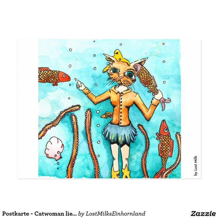 Postkarte - Catwoman liebt saubere Ohren!