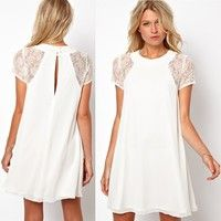 Wind Sleeved Laced Round Neck White Solid Color Chiffon Dress Priced US$ 11