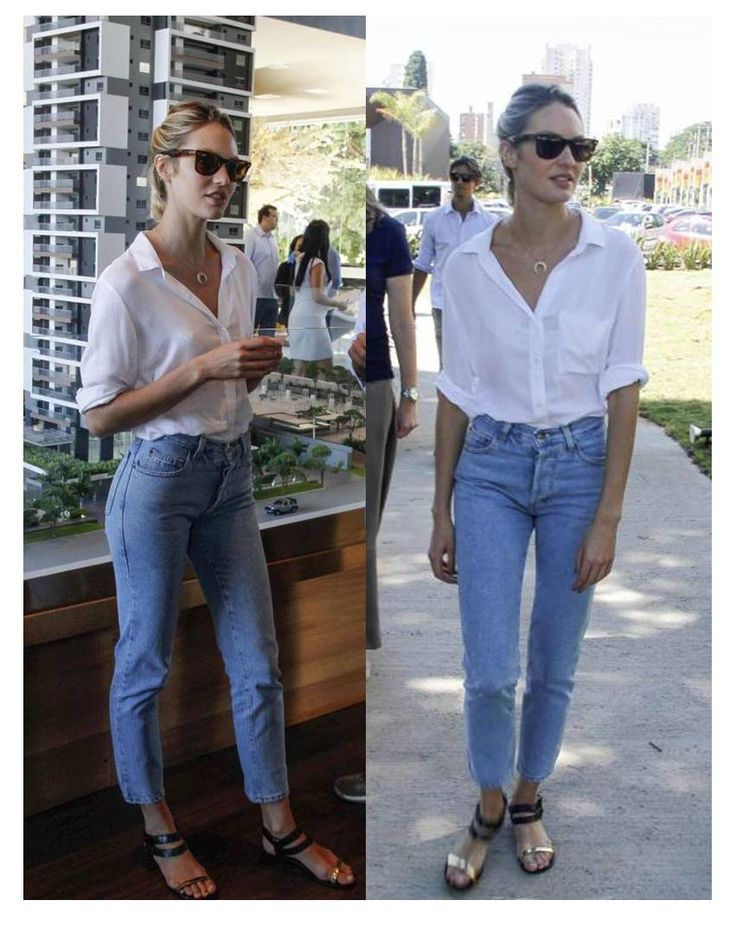 effortlessly chic: white blouse + boyfriend jeans + necklace + shades: accessorizing