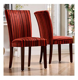 Home Interior Set of 2 Red Stripe Print Dining Chairs at www.bonton.com