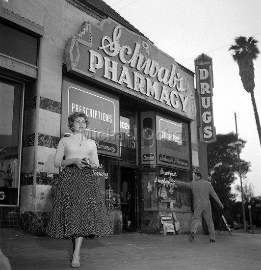 LOS ANGELES - HOLLYWOOD HILLS WEST: Schwab's Drug Store, 8000 Sunset Blvd, West Hollywood, CA 90046