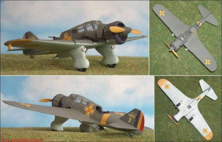"Rumänien: P.Z.L. P-23 ""Karas"", leichtes Kampfflugzeug (Heller 247) 1:72"