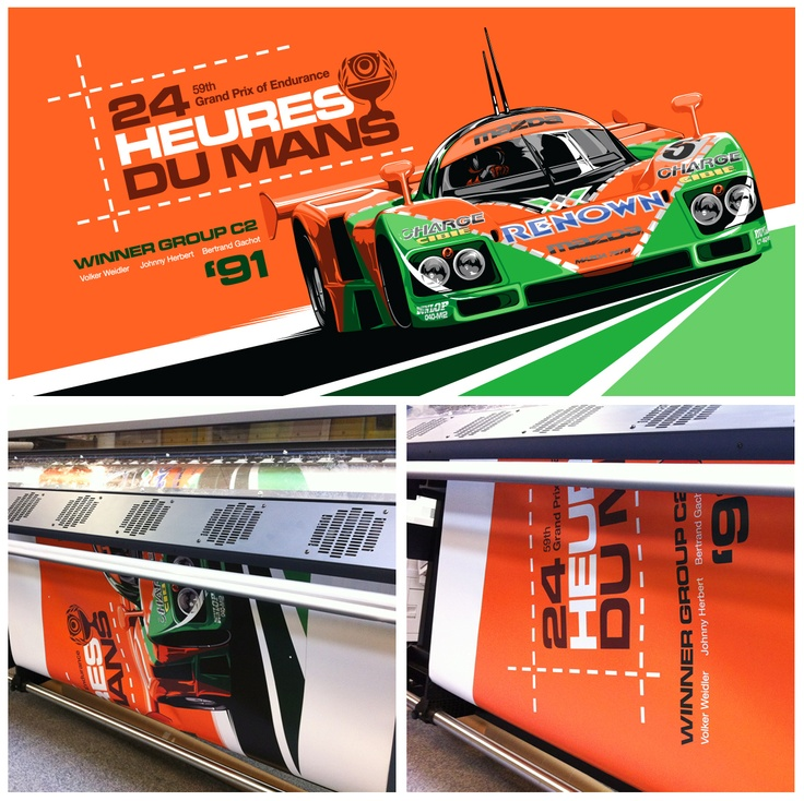 787B Le Mans poster adjusted to fit a landscape format for An evening with Johnny Herbert Printed by Coastline Graphics UK