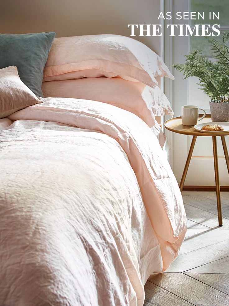 Washed Linen Bedding- Soft Blush. The classic wedding gift.