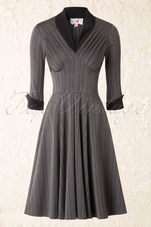 Miss Candyfloss - TopVintage Exclusive ~ 50s Vedette Pinstripes Swing Dress in Grey