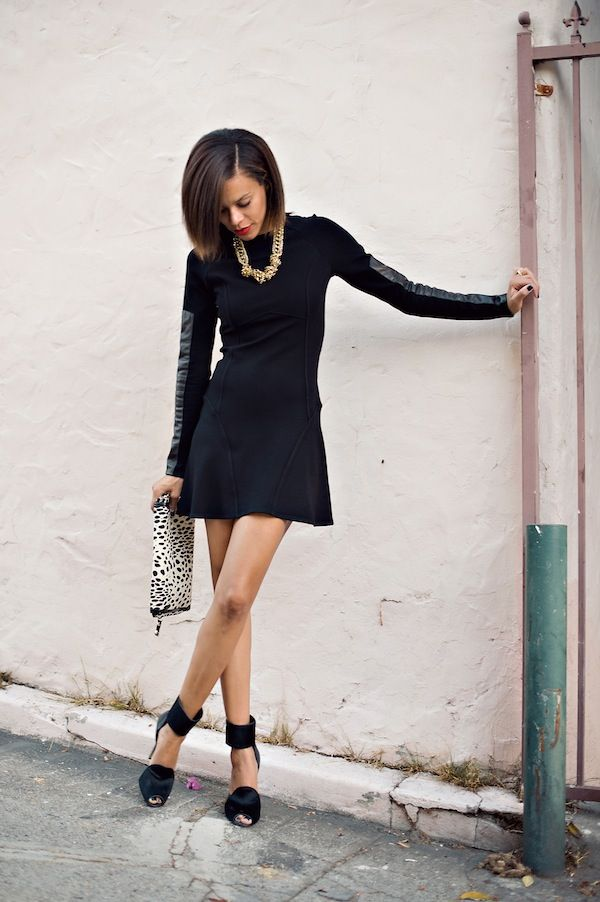 leather long-sleeved LBD