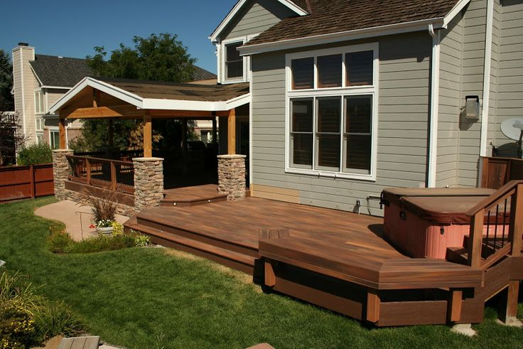 Partially covered deck decks and patios pinterest for Covered porch flooring options