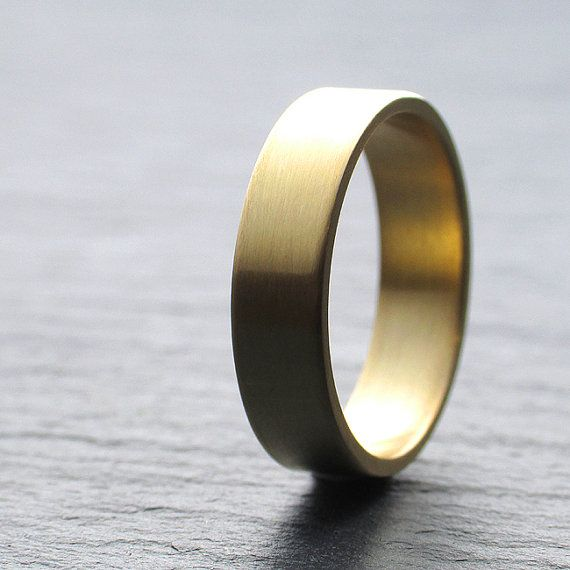 18ct Yellow Gold Wedding Band, Mens Wedding Ring, 5mm x 1.3mm, Plain Brushed Or Shiny Finish, Any Size
