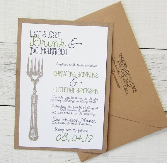 Let's Eat, Drink & Be Married Wedding Invitation - Vintage Rustic Fork Spoon Twine Utencils Lace. Purchase this Deposit to get started.