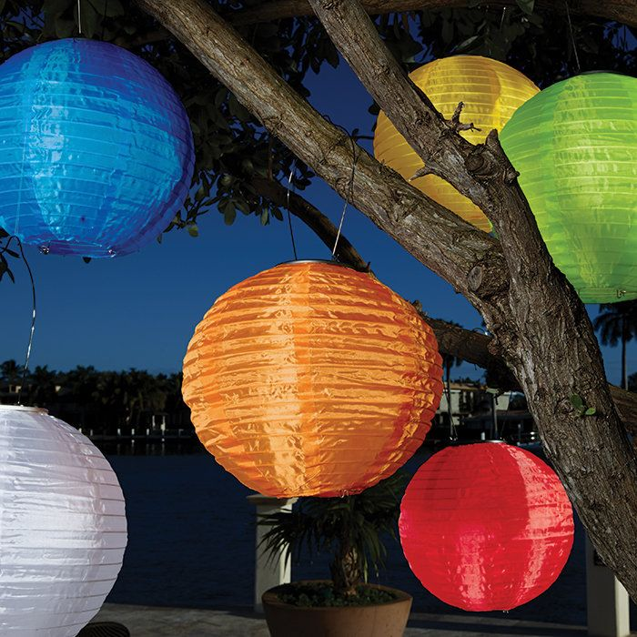 Soji Solid Round Solar Lanterns These elegant festival lanterns accordion open, collect sunlight all day and turn themselves on to cast a beautiful glow for 4-6 hours each night. Constructed of heavy duty nylon for outdoor use, these lanterns...
