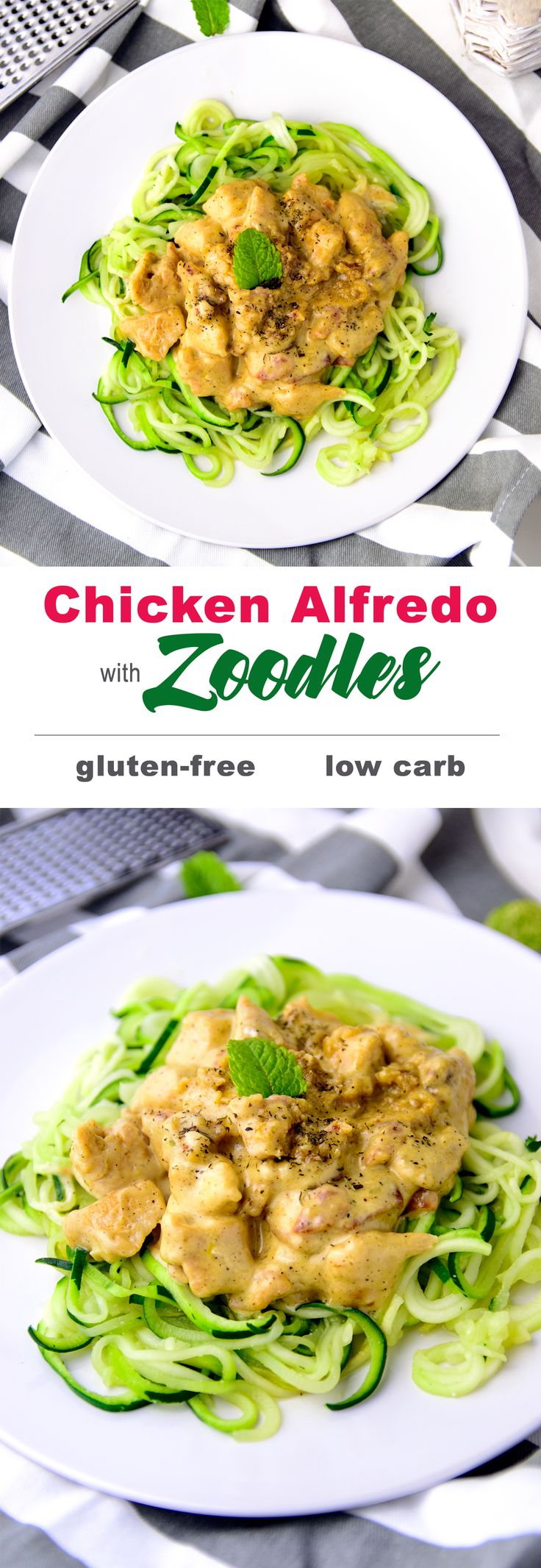 Creamy parmesan bacon and chicken Alfredo with zucchini noodles, a skinny, tasty and healthy dinner made in 30 minutes {#glutenfree, #lowcarb, #cleaneating}