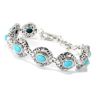 "Artisan Silver by Samuel B. 7.25"" Sleeping Beauty Turquoise Openwork Toggle Bracelet"