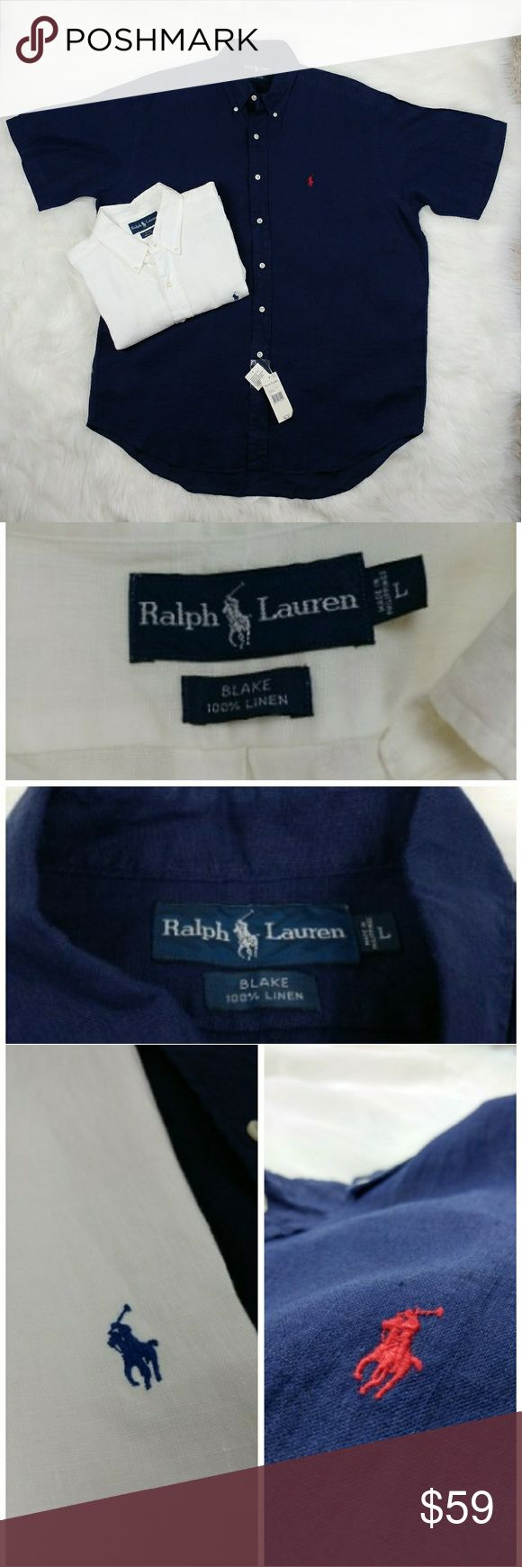 """Ralph Lauren bundle Blake 100% linen shirts Ralph Lauren Blake 100% linen  Two shirt bundle One is navy blue with red horse and New with tags The other one is white with navy blue horse New with no tags Very lightweight and breathable material Measuments taken laying flat across: Armpit to armpit 27"""" Length 35"""" back side from shoulder down Length 33"""" front side from shoulder down Ralph Lauren Shirts Casual Button Down Shirts"""