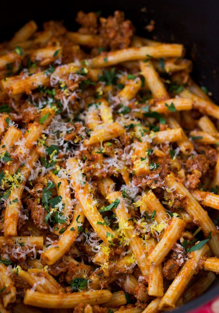How to Make Slow-Simmered Pork Ragu - slow simmered pork with white wine, tomatoes, and spices. The perfect pasta sauce!