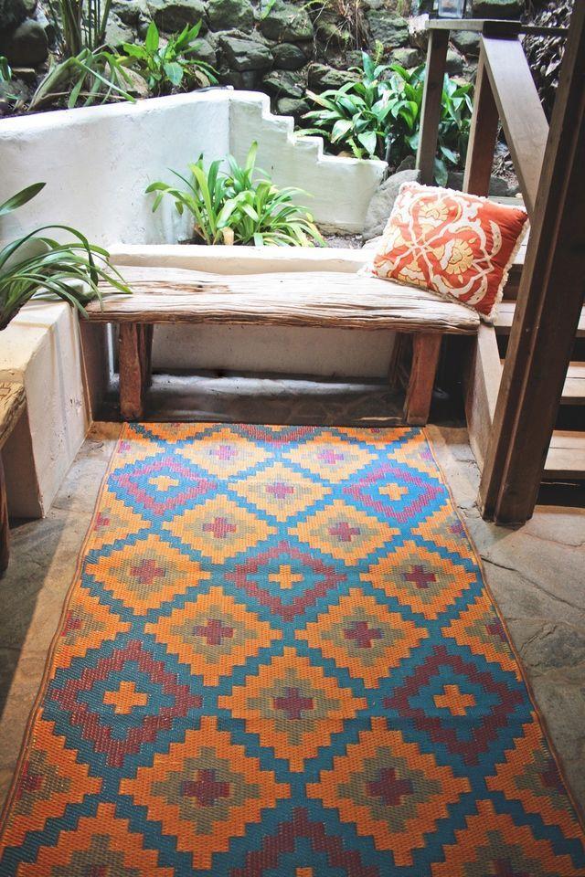 Fab Habitat Indoor Outdoor Patio Rug Mat Saman~ Blue & Orange, Choose Size - - Outdoor Patio Rug Our Designs