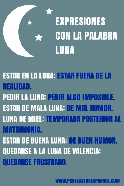 """Expresiones con la palabra """"luna""""."""