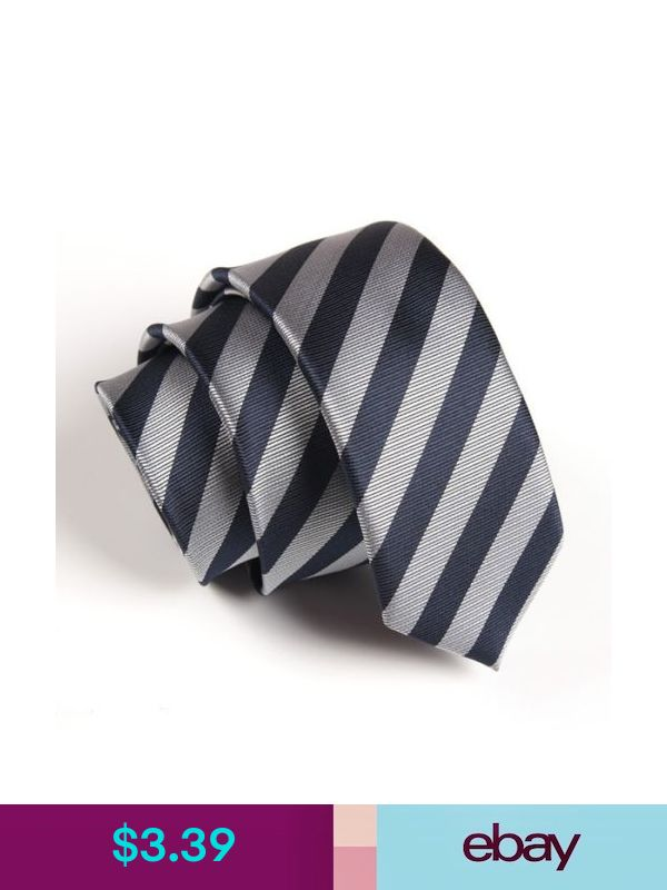 Mens Fashion Navy Gray Striped Wedding Neck Tie Necktie Narrow Slim Skinny SK261
