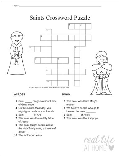 Version One from the Saints Crossword Puzzle Set  + more All Saints activities