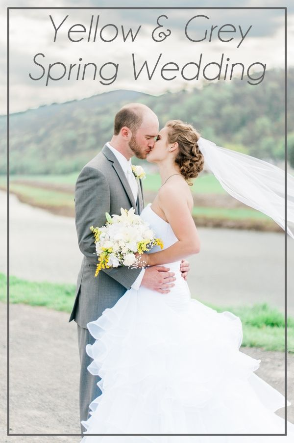 A spring wedding with grey, yellow and white DIY details and an outdoor ceremony. Photos by Emily Tempestilli Photography. #springwedding #yellowwedding