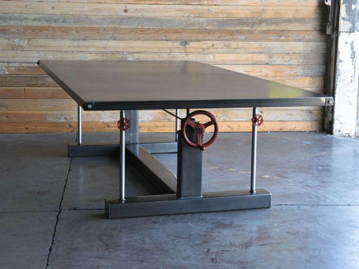 Crank table shops vintage and industrial for Industrial crank table