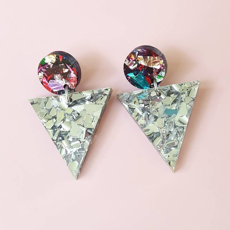 """101 Likes, 24 Comments - Wahboo Designs 》Tamra (@wahboodesigns) on Instagram: """"💖 Parti de Coleur studs + Ice Queen triangle drops = Oh la la 💖  Our earrings are lightweight, made…"""""""