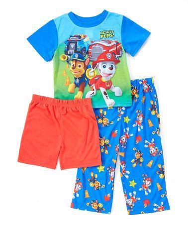 Look at this #zulilyfind! PAW Patrol 'Rescue Pups' Red & Blue Three-Piece Pajama Set - Toddler #zulilyfinds