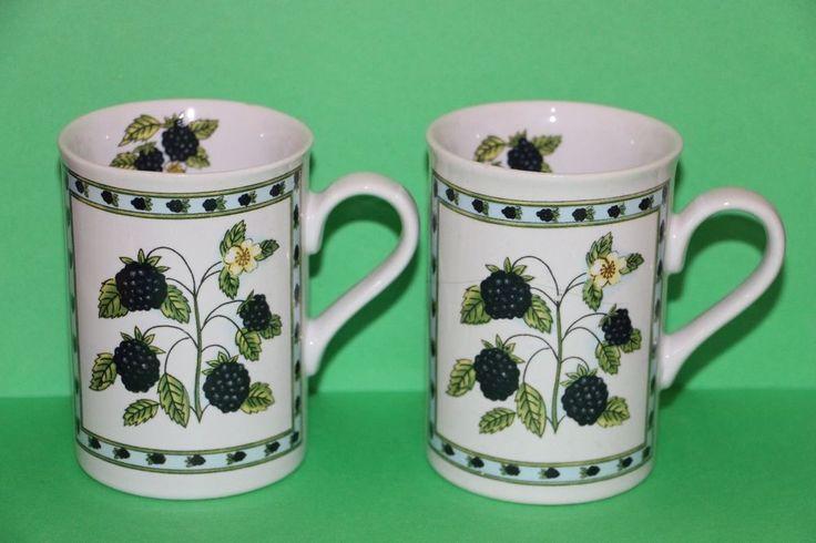 Designpac Blackberry 10 oz Tea Cup Coffee Mug Lot Set of 2