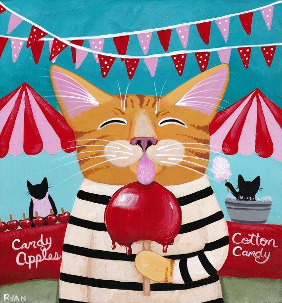 The Candy Apple Festival - Original Cat Folk Art Painting by KilkennycatArt