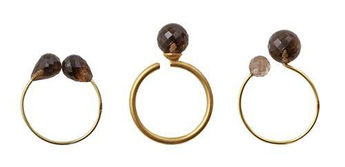 Ringe med røgkvarts  Til disse ringe er der brugt følgende materialer: (set fra venstre mod højre)  1 stk. forgyldt kreol 18 mm + 2 stk. anborede facetterede røgkvarts dråber 1 stk. forgyldt fingerring med stift + 1 stk. anboret perle facetteret røgkvarts 8 mm 1 stk. forgyldt kreol 18 mm + 1 stk. anboret perle facetteret røgkvarts i 6 mm + 1 stk. i 8 mm + lim
