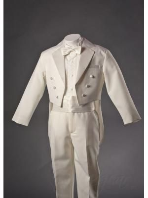 Boys Ivory Tuxedo with Tails with Bow Tie and Cummerbund Set by Fouger