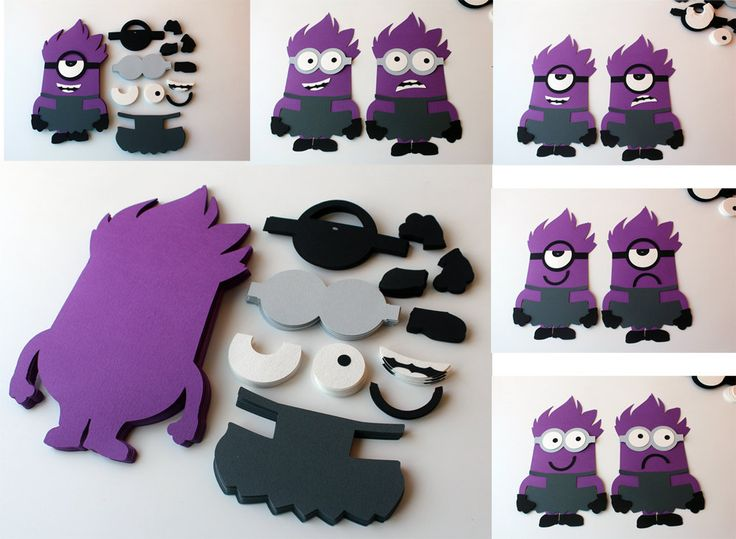 DIY purple minions birthday party game supplies Evil minions cutouts Despicable me table games Purple girl minion Party Favors Pin the glass - pinned by pin4etsy.com